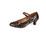 billige Moderne sko-Dame Latin Sateng Høye hæler Profesjonell Spenne Kubansk hæl Gull Sølv 5 cm Kan spesialtilpasses