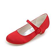 billige Små høje hæle til teenagere-Pige Sko Silke Forår sommer Hæle for Bryllup Fest / aften Sølv Rød Blå Lysebrun Krystal