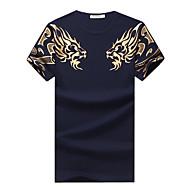 Masculino Camiseta Casual Tamanhos Grandes Simples Verão,Estampa Animal Algodão Elastano Decote Redondo Manga Curta Média