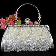 baratos Clutches & Bolsas de Noite-Mulheres Bolsas Pele Bolsa de Festa / Dobra Dupla Cristal / Strass Dourado / Prata