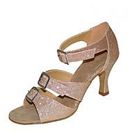 cheap Latin Shoes-Women's Latin Jazz Salsa Swing Shoes Flocking Sparkling Glitter Sandal Heel Practice Beginner Professional Indoor Performance Sequin