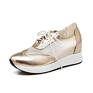 Women's Sneakers Spring Summer Fall Platform Leatherette Outdoor Casual Platform Lace-up Blue Pink Silver Gold Walking