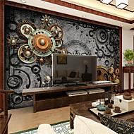 Art Deco / 3D Bakgrunn For Hjem Retro Rød Tapetsering , Lerret Materiale selvklebende nødvendig Mural , Room wallcovering