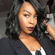 Synthetic Wig Water Wave Kardashian Style Bob Capless Wig Black Dark Black Synthetic Hair Women's Side Part / African American Wig Black Wig Medium Length