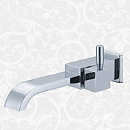 cheap Bathroom Sink Faucets-Contemporary Wall Mounted Ceramic Valve One Hole Single Handle One Hole Chrome, Bathroom Sink Faucet
