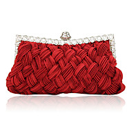 Women Bags Satin Evening Bag Crystal/ Rhinestone for Event/Party Beige Purple Fuchsia Red Ivory