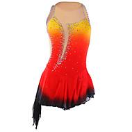 Kunstskøjtekjole Dame Pige Skøjtekjole Orange Spandex Elastin Mode Ydeevne Komprimering Håndlavet Uden ærmer Skøjtetøj Is Skøjtning