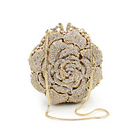 baratos Clutches & Bolsas de Noite-Mulheres Bolsas Metal Bolsa de Mão Detalhes em Cristal Dourado