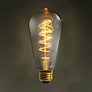 1pcs 40W E26/E27 LED Filament Bulbs ST64 Warm White 2700-3500K Decorative AC220-240V 1pc