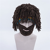 Children Men And Women Pure Cotton Wig New Year Gift Brown With Rainbow Creative Beard Crazy Handmade Wig (Not synthetic Pure Cotton)