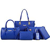 女性 バッグ オールシーズン PU 特殊材料 バッグセット 6個の財布セット リベット のために フォーマル ホワイト ブラック フクシャ ブルー ピンク