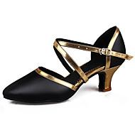 billige Moderne sko-Dame Latin Salsa Kunstlær Lakklær Sandaler Høye hæler Innendørs Ytelse Profesjonell Nybegynner Trening Spenne Kubansk hæl Svart og Gull