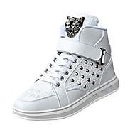 Erkek Atletik Ayakkabılar Rahat Kış PU Bağcıklı Düz Topuk Beyaz Siyah Kırmzı Düz