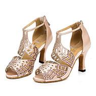 baratos Sapatilhas de Dança-Mulheres Sapatos de Dança Latina / Tênis de Dança / Sapatos de Dança Moderna Courino Têni Pedrarias Salto Robusto Personalizável Sapatos de Dança Preto / Vermelho / Amêndoa / Couro / Ensaio / Prática