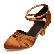 billige Moderne sko-Dame Sko til latindans / Salsasko Sateng Sandaler / Høye hæler Spenne Kubansk hæl Kan spesialtilpasses Dansesko Svart / Fuksia / Mørkebrun
