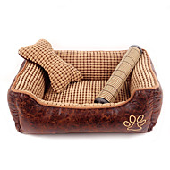 Cat Dog Bed Pet Cushion & Pillows Plaid/Check Breathable Soft Brown For Pets