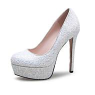 baratos Sapatos de Noiva-Feminino Saltos Gliter Primavera Verão Outono Casamento Casual Festas & Noite Lantejoulas Salto Agulha Branco Vermelho Rosa claro12 cm ou