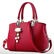 cheap -Women's Bags PU Tote / Zipper Imitation Pearl / Crystal / Rhinestone / Flower for Formal / Outdoor / Office & Career Blue / Pink / Wine