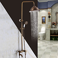 cheap Shower Faucets-Antique Traditional Shower System Waterfall Widespread Handshower Included Ceramic Valve Two Holes Single Handle Two Holes Antique Copper