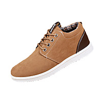 Men's Sneakers Spring Fall Comfort PU Casual Flat Heel Lace-up Black Brown Gray