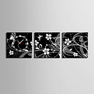 MINI SIZE E-HOME Black and White Flowers Clock in Canvas 3pcs