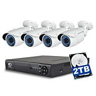 baratos Kits NVR-jooan® 4ch 1080p nvr com 2tb hdd 4pcs 2mp impermeável poe ip camera 100ft visão noturna 48v power over ethernet