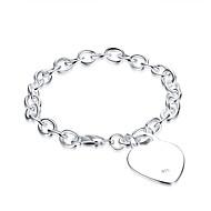Dame Kvadratisk Zirconium Kæde & Lænkearmbånd - Kvadratisk Zirconium, Sølvbelagt Kærlighed Armbånd Sølv Til Fødselsdag / Gave / Daglig