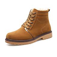 Herre-Tekstil-Flat hæl-Komfort-Støvler-Fritid-Svart Brun