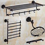 Bad Zubehör-Set Antik 140 63 Handtuchhalter Kleiderhaken Badezimmer Regal Zahnbürstenhalter Duschkorb Wand befestigend