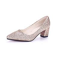 Feminino Saltos Conforto botas de desleixo Tecido Primavera Verão Outono Casual Caminhada Conforto botas de desleixo LantejoulasSalto