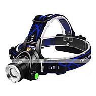 levne -Čelovky LED 1600lm 3 Režim osvětlení s bateriemi a nabíječkou Zoomovatelné / Nastavitelné zaostřování / Odolný proti nárazům Kempování a