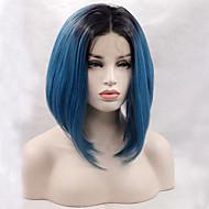 Vrouw Pruik Lace Front Synthetisch Haar Recht  Blauw Bobkapsel met middenlijn Natuurlijke haarlijn Bobkapsel Natuurlijke pruik Halloween