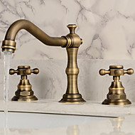 Antique Widespread Widespread Ceramic Valve Three Holes Two Handles Three Holes Antique Copper , Bathroom Sink Faucet
