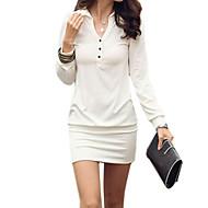 Dámské Jednoduchý Běžné/Denní Pouzdro Šaty Jednobarevné,Dlouhý rukáv Košilový límec Nad kolena Bavlna Celý rok Mid Rise Neelastické