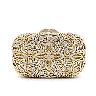 baratos Clutches & Bolsas de Noite-Mulheres Bolsas Metal Bolsa de Festa Cristal / Strass Floral Dourado / Rhinestone Crystal Evening Bags / Rhinestone Crystal Evening Bags