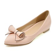Women's Flats Spring Summer Comfort Leatherette Dress Casual Wedge Heel Bowknot Blushing Pink Red Black White Walking