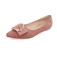 baratos Sapatos Femininos-Feminino-Rasos-Conforto-Rasteiro-Preto Cinzento Amarelo Vermelho Rosa claro-Couro Ecológico-Casual