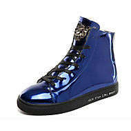 Erkek Spor Ayakkabısı Rahat PU Kış Günlük Bağcıklı Düz Topuk Altın Siyah Mavi 2inç-2 3/4inç