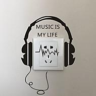 AYA DIY Wall Stickers Wall Decals Cartoon Earphone Type PVC Switch Panel Stickers 16*24cm