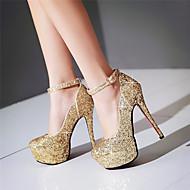 baratos Sapatos de Noiva-Feminino Sapatos Gliter Primavera Verão Outono Saltos Salto Agulha Ponta Redonda Lantejoulas Presilha para Casamento Social Festas & Noite