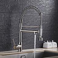 billige Vandhaner-Køkken Vandhane - Enkelt håndtag Et Hul Nikkel Børstet Træk-out / Pull-down Basin Moderne / Art Deco / Retro Kitchen Taps