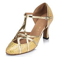 cheap Modern Shoes-Women's Latin Sparkling Glitter Full Sole Indoor Performance Outdoor Practice Beginner Sparkling Glitter Buckle Flared Heel Gold Silver
