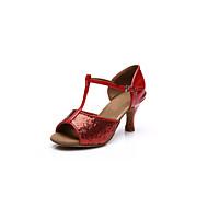 cheap Dance Shoes-Women's Latin Salsa Paillette Leatherette Sandal Heel Indoor Performance Professional Practice Beginner Buckle Cuban Heel Gold Silver Red