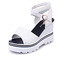 cheap Women's Sandals-Women's Shoes Suede Summer Comfort Sandals Walking Shoes Wedge Heel Peep Toe Buckle for Office & Career Dress Party & Evening White Black