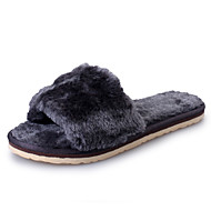 Women's Slippers & Flip-Flops Spring Summer Fall Winter Sheepskin Casual Flat Heel Black Gray Fuchsia Light Purple Blue Walking