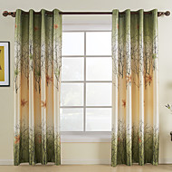 To paneler Window Treatment Rustikk , Blad Stue Polyester Materiale gardiner gardiner Hjem Dekor For Vindu