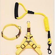 犬 カラー ハーネス リード 調整可能 / 引き込み式 ソリッド ナイロン ブラック パープル イエロー レッド ブルー