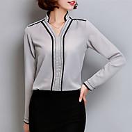 V-hals Dame - Ensfarvet Plusstørrelser Bluse Polyester