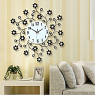Captivating Pastoral Flower Iron Rhinestone Living Room Bedroom Watch Clocks Large Decorative  Wall Clock Saat Horloge Murale