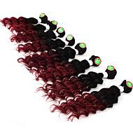 Недорогие -Натуральные волосы Бразильские волосы Омбре Глубокие волны Наращивание волос 1 шт. Черный / Бургундия